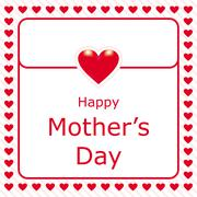 Stock Illustration of happy mothers day love letter with red heart