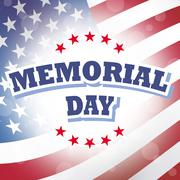 Us memorial day banner with american flag background Stock Illustration