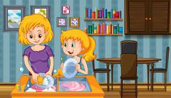 Mother and kid doing dishes together Stock Illustration
