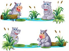Hippopotamus living by the pond Stock Illustration