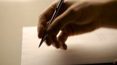 Male hand handwriting, close up footage - stock footage