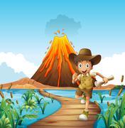 Boy running on the bridge with volcano background Stock Illustration