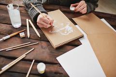 Drawing with white gouache Stock Photos