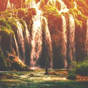 Autumnal view of beautiful waterfalls in Plitvice Lakes National Park Stock Photos