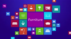 Computer mobile application home appliance furniture interior decoration set 2 Stock Footage