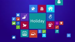 Christmas holiday festival computer mobile application app animation icon moving Stock Footage