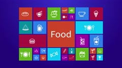 Computer mobile application program of flat food and restaurant menu review icon Stock Footage