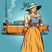 Woman crash car retro funny - stock illustration