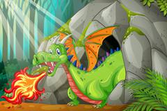Dragon in the cave blowing fire Stock Illustration