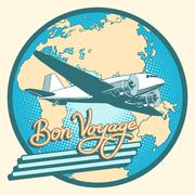 Stock Illustration of Bon voyage abstract retro plane poster