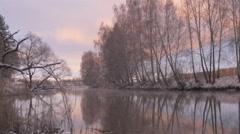 Dawn paints a beautiful river landscape Stock Footage