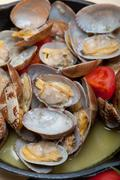 Fresh clams on an iron skillet Stock Photos