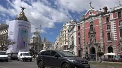 4K Heavy traffic street Alcala avenue Madrid downtown public transportation day  Stock Footage