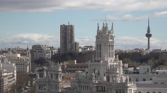 4K Aerial view Cybele Palace traffic street Cibeles building Madrid cityscape  Stock Footage
