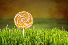 Spiral lollipop - stock photo