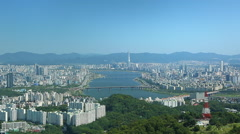 SEOUL, SOUTH KOREA - View of Seoul's Han River from N Seoul Tower. Stock Footage
