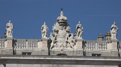 4K Beautiful royal decoration imperial palace Madrid landmark sculpture day icon Stock Footage