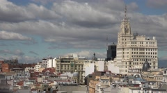 4K Amazing Madrid building architecture aerial view crowded downtown roof day Stock Footage