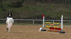 Horse stumbles at the obstacle. Stock Footage