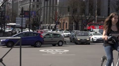 Stock Video Footage of 4K Road congestion Madrid city center public transportation touristic red bus