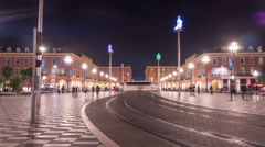 Illuminated statues at Place Massena in Nice - Night Time Lapse Stock Footage