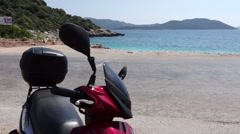 Scooter and beautiful sea view 2 Stock Footage