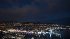 The Port Lympia and the city of Nice -  Night Time Lapse Stock Footage