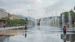 Miroir d'eau at Promenade du Paillon in Nice - Time Lapse Stock Footage