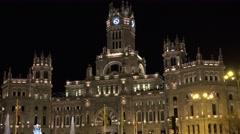 4K Beautiful Cybele Palace Madrid landmark night Cibele building architecture  Stock Footage