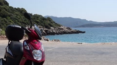 Scooter and beautiful sea view Stock Footage