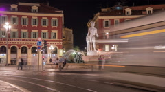 Fountain of the Sun and Apollo statue in Place Masséna, Nice - Night Time Lapse Stock Footage