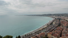 Amazing panoramic view of the sea and Nice on a cloudy day - Time Lapse Stock Footage