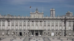 4K Tourist people visit Royal Palace beautiful building Madrid landmark emblem Stock Footage