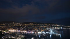 The Old Harbor and the city of Nice -  Night Time Lapse Stock Footage