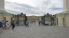Tourists visiting the Schönbrunn Palace on a cloudy day in Vienna Stock Footage
