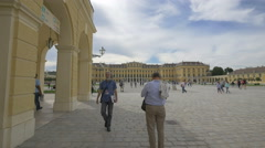 People walking in the front yard of Schönbrunn Palace, Vienna Stock Footage