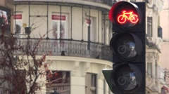 4K Traffic light change bicycle transportation Madrid old town bike symbol sign  Stock Footage