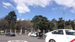 4K Heavy traffic street car wait stop light Madrid public transportation taxi Stock Footage