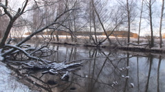 Winter landscape with river and forest. Stock Footage