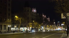 4K Heavy traffic street Alcala boulevard night Madrid city transportation iconic Stock Footage