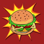 Burger fast food retro pop art Stock Illustration
