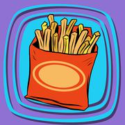Fries fast food - stock illustration