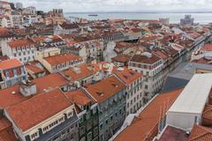 Lisbon, Portugal city skyline over Santa Justa Rua - stock photo