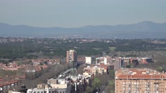 4K Aerial view suburban area Madrid town traffic car gondola pass cable car trip Stock Footage