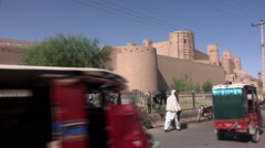 Herat, street with citadel, Afghanistan (2).mp4 Stock Footage