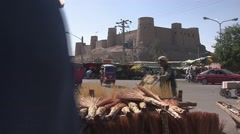 Herat, streetlife with citadel, Afghanistan.mp4 Stock Footage