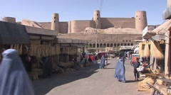 Herat, street with citadel, Afghanistan.mp4 Stock Footage