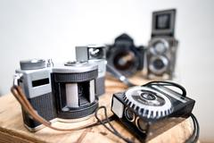 old analogue photographic cameras - stock photo