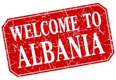 welcome to Albania red square grunge stamp - stock illustration