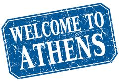 welcome to Athens blue square grunge stamp - stock illustration